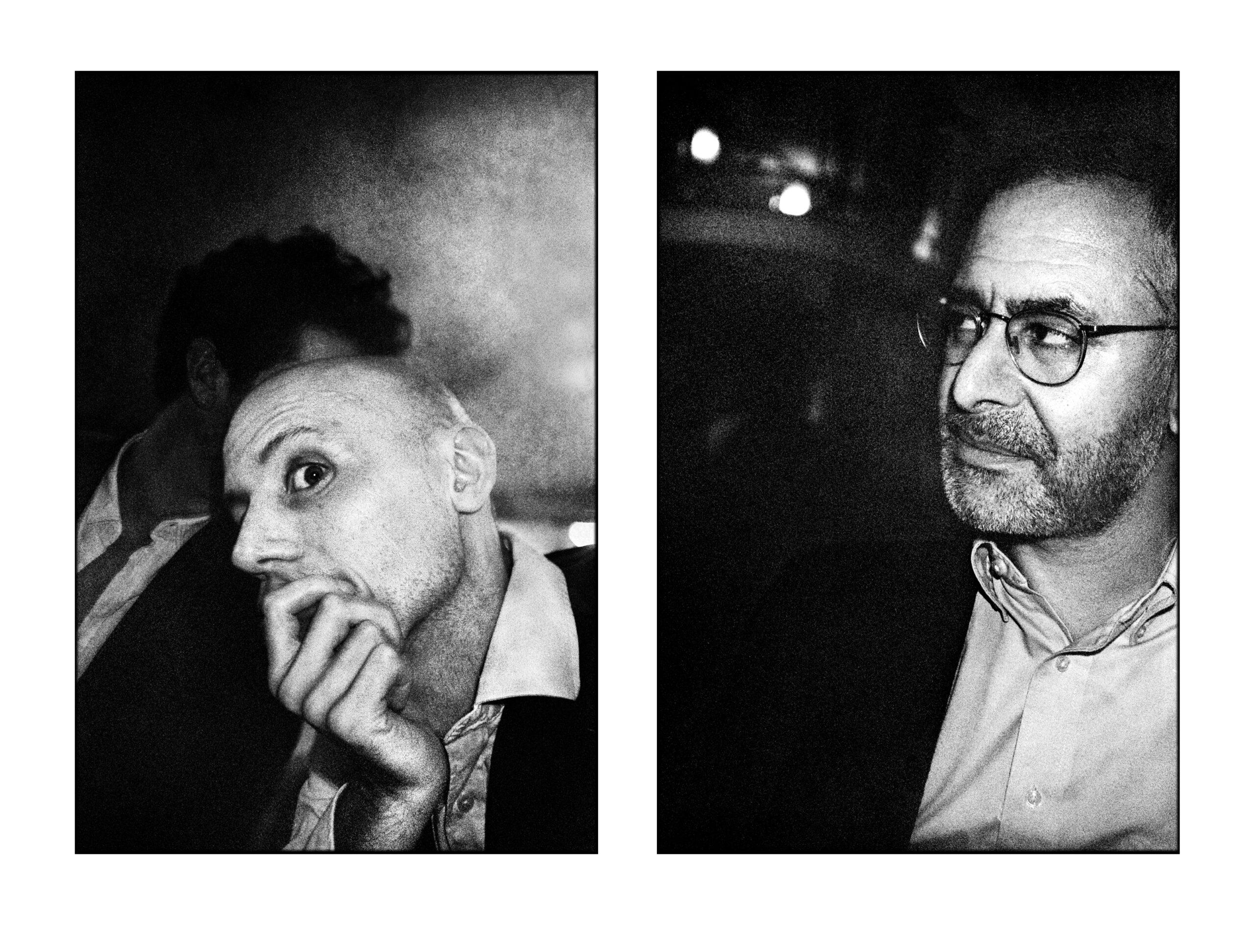 Bilden till vänster föreställer Ola Aurell och bilden till höger är Aron Flam. Båda är fotograferade under en fest för Arons bok: Det här är en svensk tiger