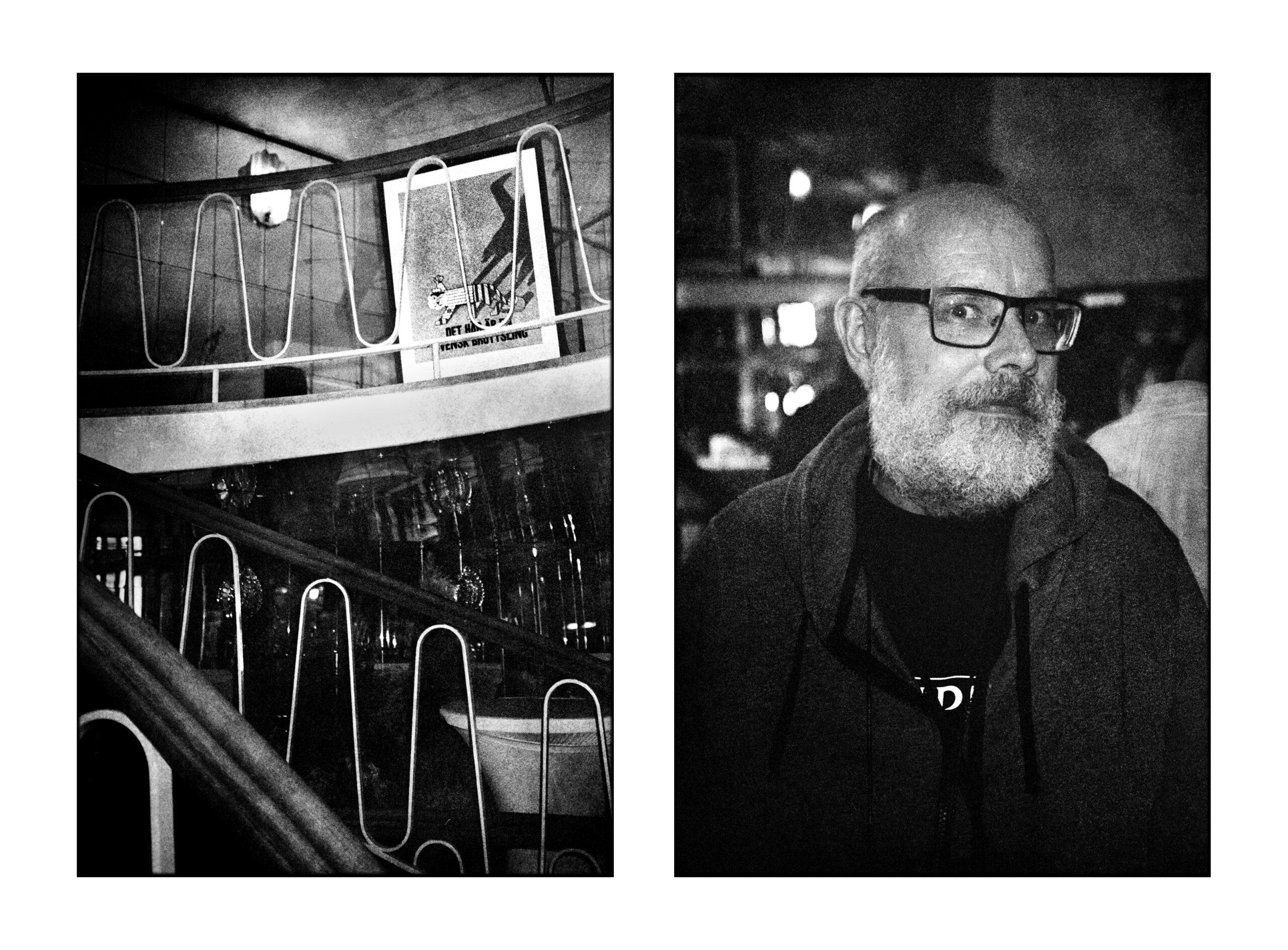 """Affischen """"Det här är en svensk brottsling"""" och Tomas Arfert som formgivit både affisch och bokomslag."""